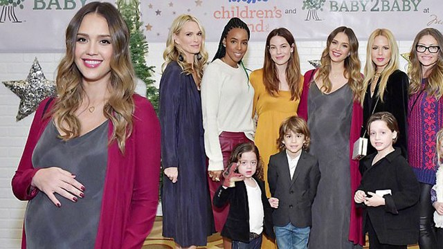 Jessica's A-list girl squad! Alba cradles her bump as she joins Kelly Rowland, Jaime King and Rachel Zoe at charity Christmas party