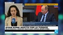 """Avion russe abattu par la Turquie : """"un coup de poignard dans le dos de la Russie"""", selon Poutine"""