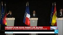 Crash A320 - Discours de François Hollande à Seyne-les-Alpes près du site du crash