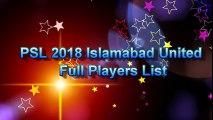 PSL 2018   Islamabad United New and Final Squad 2018   Islamabad United Full Players list