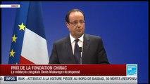 Le Président français François Hollande rend hommage à l'ancien président Jacques Chirac