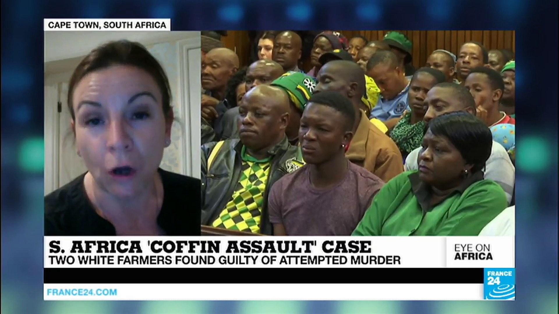 Two white South African farmers found guilty in the 'coffin assault' case