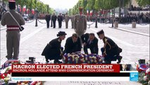 France: François Hollande guides president-elect Emmanuel Macron through VE Day ceremony