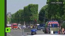 Premières images des Champs-Elysées après qu'une voiture a foncé sur un fourgon de gendarmes