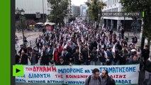 Les grecs sortent dans les rues d'Athènes, après les mesures de rigueur adoptées par le Parlement