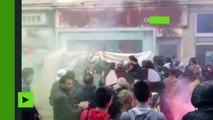 Des manifestants font le siège du bureau du parti socialiste à Rouen