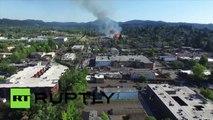 USA : images aériennes de l'immense incendie du stade historique de l'Oregon