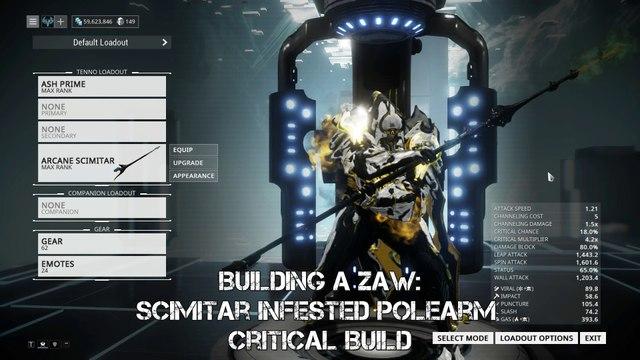 Warframe: Building a Zaw - Scimitar Infested Polearm Critical Build