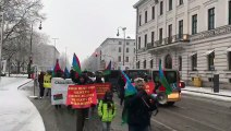 Baloch Republican Party activists carry out a rally in Munich city against pakistan crimes in Balochistan.