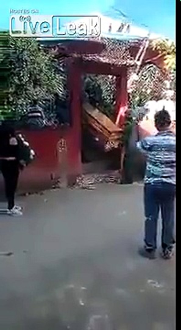 Body gets dropped out of a coffin. One of the people from the helicopter crash in Mexico.