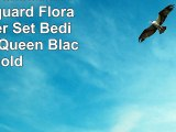 Chezmoi Collection 7Piece Jacquard Floral Comforter Set BedinaBag Set Queen Black Gold