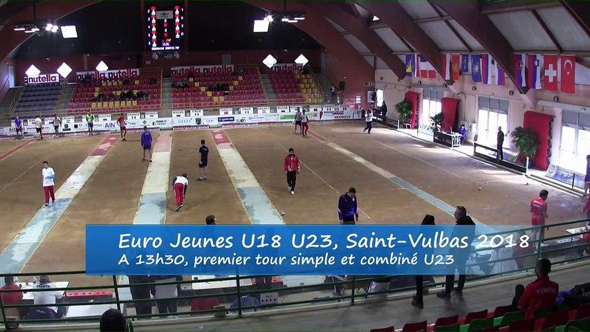 Premières parties de poules,  simple et combiné, Euro Jeunes, Saint-Vulbas 2018