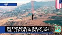 CHUTE LIBRE : Ce parachutiste utilise son corps pour absorber sa chute, faute d'alternatives