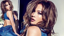 Denim dream! Jennifer Lopez straddles a chair as she shows off skintight Guess jeans in first glimpse at brand's spring campaign.