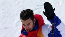 JO 2018 : Ski halfpipe Hommes. Thomas Krief s'arrête après sa chute du premier run