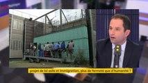 """Projet de loi asile et immigration : """"Je ne dis pas qu'il faut ouvrir grand les frontières mais je dis que ce serait l'honneur de la France (...) de traiter avec humanité ceux qui sont chez nous"""" réagit Benoît Hamon"""