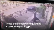 Moment policeman catches falling child
