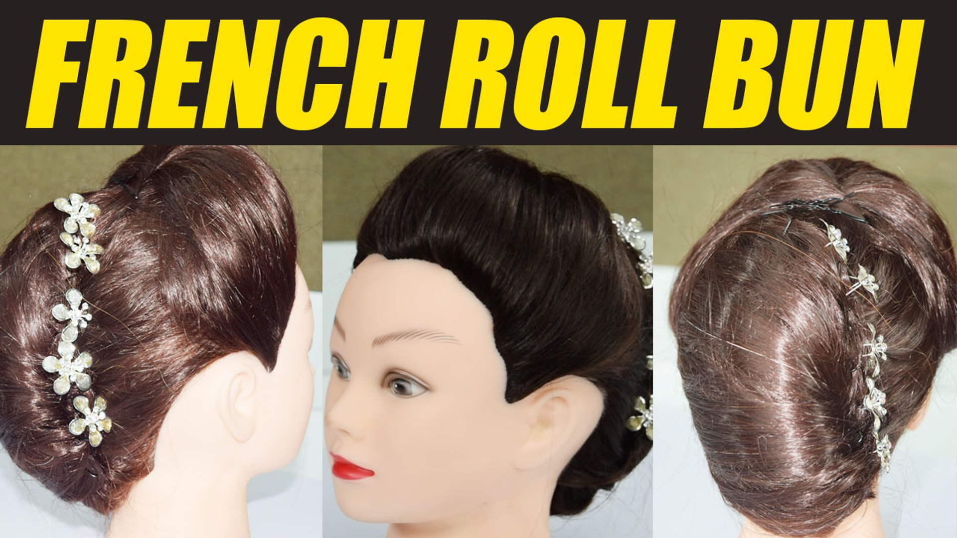 Hairstyle Tutorial French Roll Bun फ र च र ल बन Wedding Hairstyle Boldsky