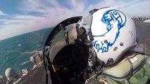 Décollage d'un porte-avion vu de la place du pilote d'avion de chasse ! USS Theodore Roosevelt