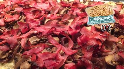 Zwiebel-Champignon-Flammkuchen mit Datteln und Lachsschinken - Flammkuchen Flammkuchen Flammkuchen 03