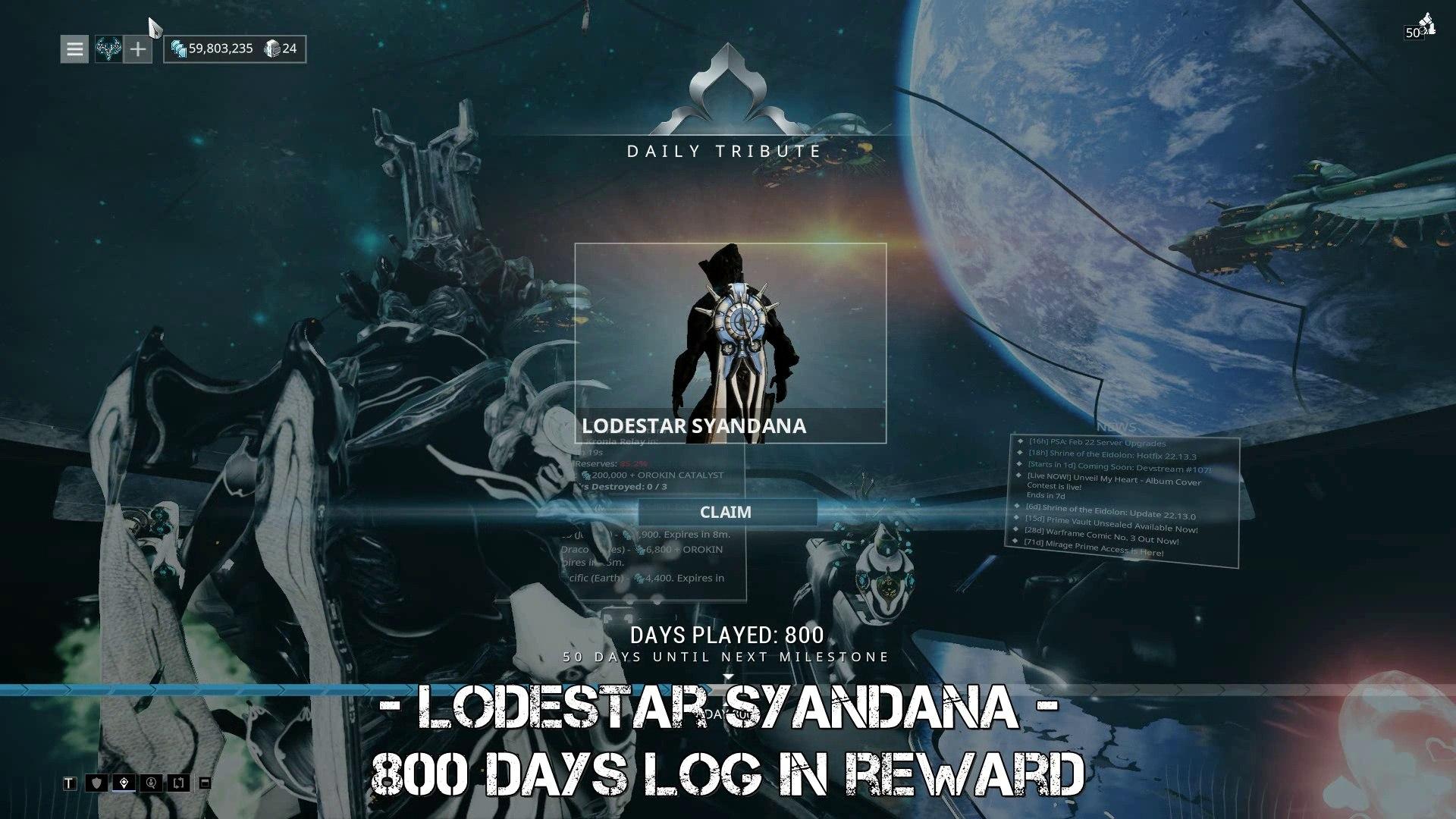 Warframe Lodestar Syandana - 800 days log in reward