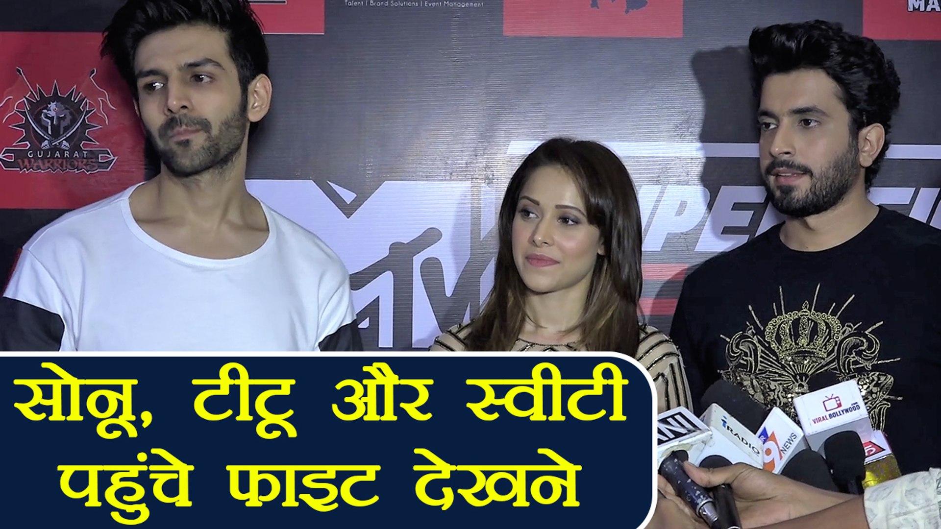 Sonu Ke Titu Ki Sweety: Karthik Aryan, Nushrat & Sunny reach to watch Super Fight League |FilmiB