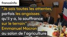 """Salon de l'agriculture : """"Je sais toutes les attentes, parfois les angoisses qu'il y a, la souffrance sur le terrain mais je suis convaincu que l'agriculture française est une terre de conquête"""", déclare Emmanuel Macron #SIA2018"""