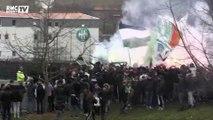 Lyon - ASSE : fumigènes et chants pour accompagner le bus des Verts