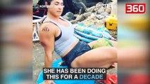 Njihuni me gruan më të fortë në botë, arrin të thyejë shalqinj me forcën e... (360video)