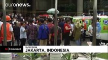 The moment an Indonesia Stock Exchange walkway collapses