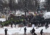 Clashes Between Police and Protesters Outside Ukrainian Parliament in Kiev