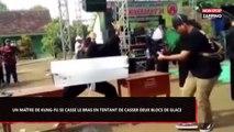 Un maître de kung-fu se casse le bras en tentant de briser deux blocs de glace (Vidéo)