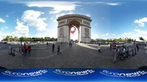 360° video: Stunning images of French flag suspended to Paris' Arc de Triomphe