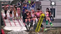 100s of scantily clad skiiers take to Sochi slopes, Russia
