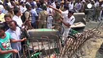 CCTV: Moment Kolkata overpass collapses onto street below, India