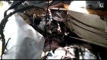 Destroços de ônibus após acidente na BR 262