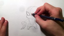 How to Draw Spiderman Chibi From Marvel Charers Easy Step by Step Video Lesson