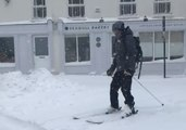Man Skis Through Waterford as Heavy Snow Blankets City