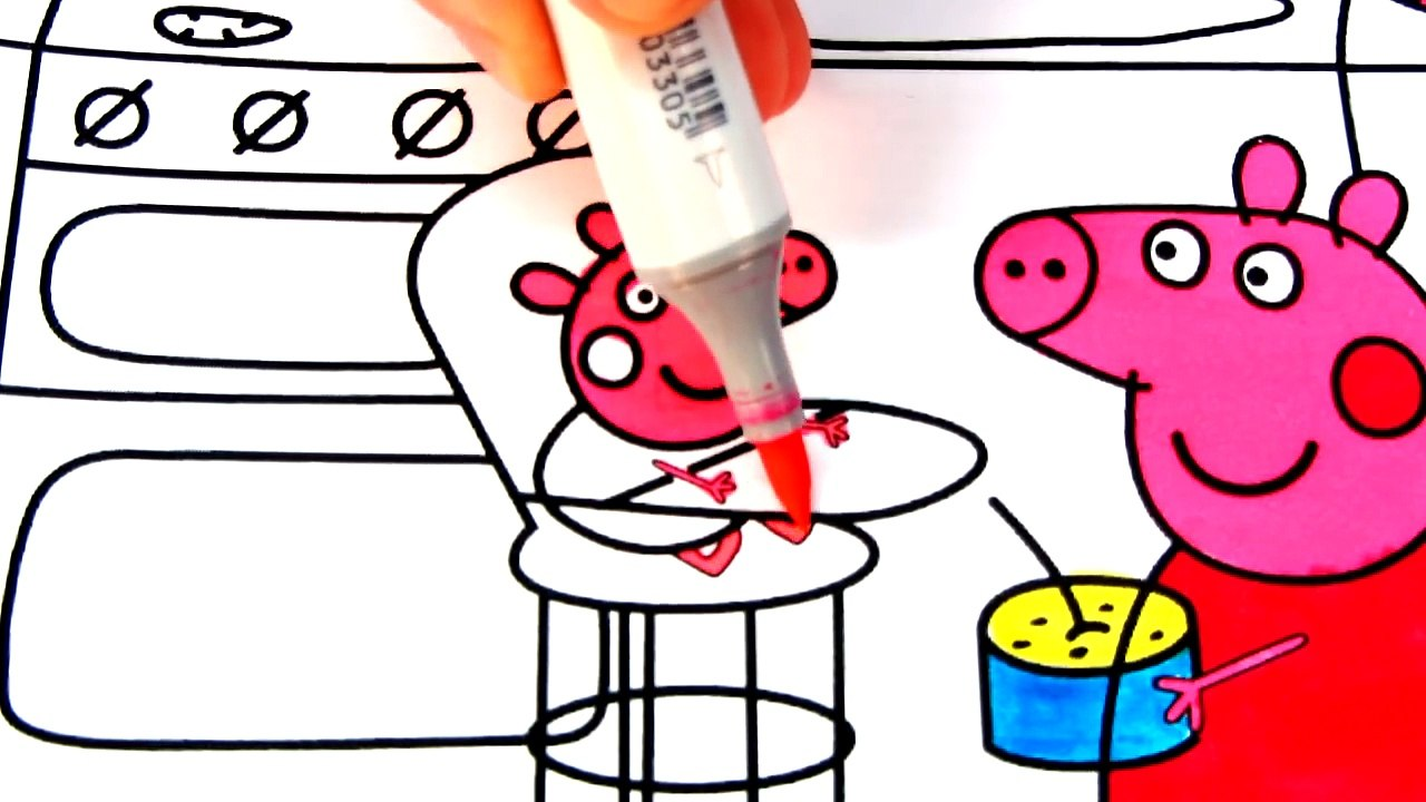 Mummy Pig With Peppa Pig And Baby Alexander Coloring Pages Video For Kids With Colored Markers Video Dailymotion