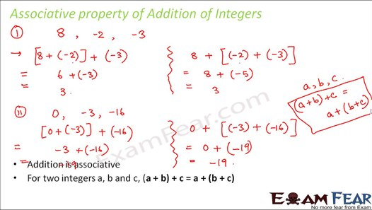Maths Integers part 8 (Associative, Additive Properties of Integers) CBSE  Class 7 Mathematics VII