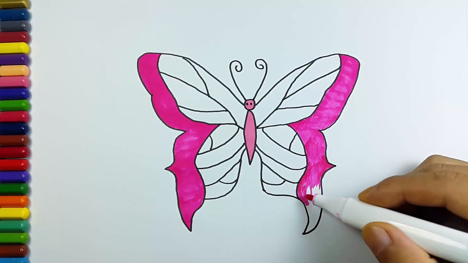 How To Draw Butterfly Coloring Pages Art Colours For Kids Learn Colors Video Dailymotion