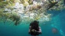 Ce plongeur nage dans un océan de plastique