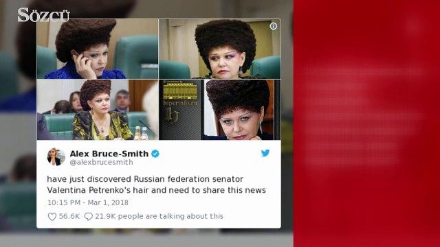 Rus senatörünün saçları sosyal medyanın gündemi oldu