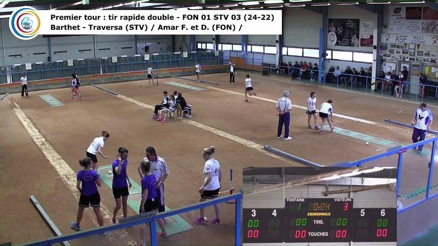 Premier tour, tir rapide en double, Club Elite Féminin, demi-finale retour, Fontaine contre Saint-Vulbas,, saison 2017-2018