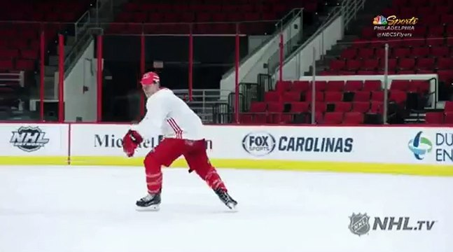 Jeff Skinner does a single-axel to remind us he grew up a figure skater