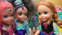 Anna and Elsa Toddlers Surprise Toys Eggs! Candy 3 Wishes Shimmer and Shine Genies Peppa Pig Nick Jr
