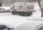 Garbage Truck Slides Sideways on Icy Bismarck, North Dakota, Road