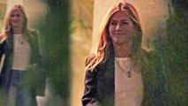 Smiling Jennifer Aniston leaves Courteney Cox's home after enjoying girl time... as ex Justin Theroux reveals he's 'stopped caring' about what others think of him.