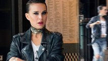 Rock on! Natalie Portman is almost unrecognizable with heavy eye makeup, black motorcycle jacket and ripped jeans to play a singer in Vox Lux.