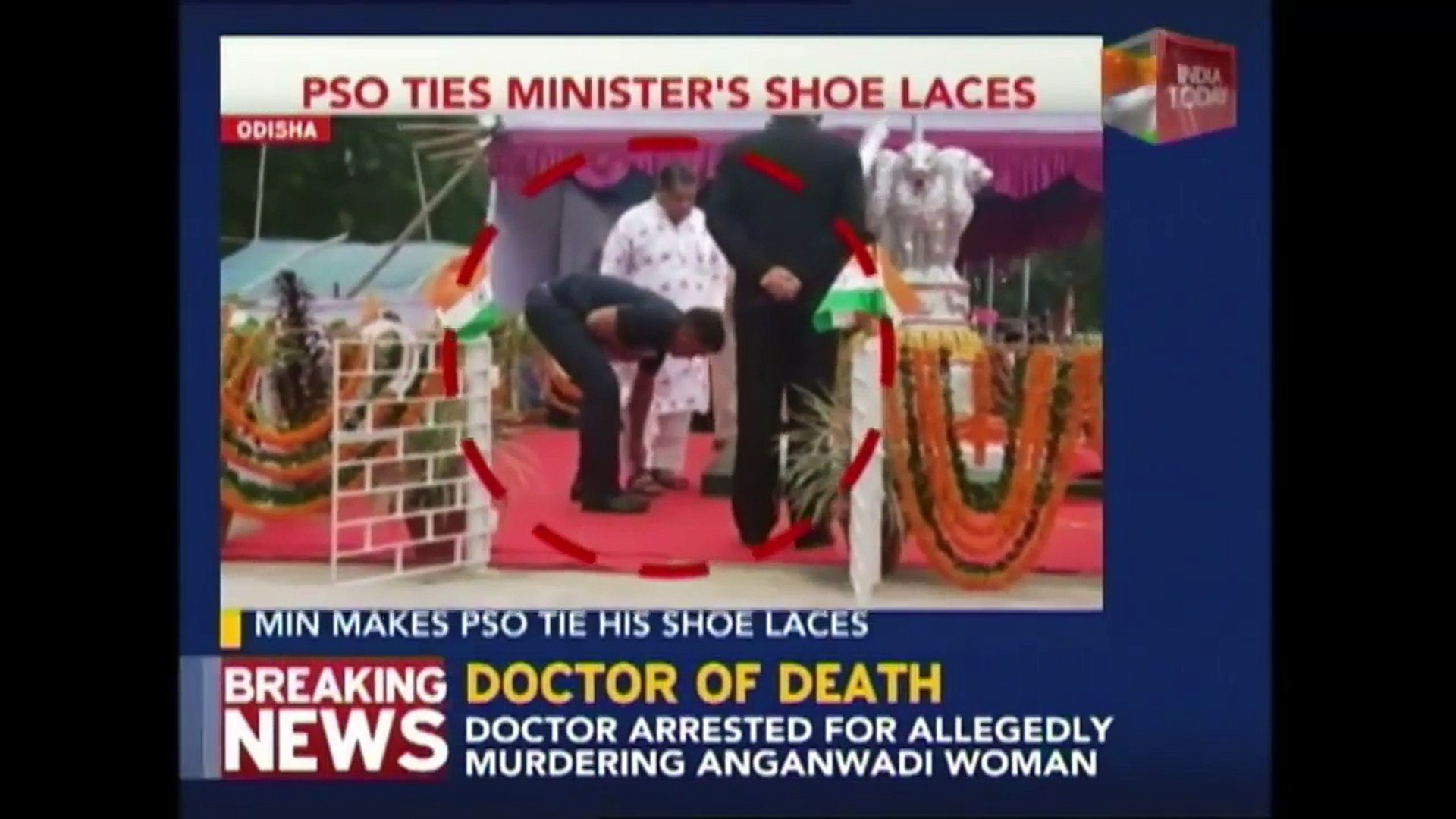 Odisha Minister Made Security Officer To Tie His Shoe Laces